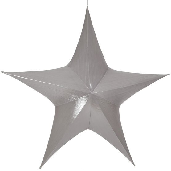 "54"" Silver Unlit Hanging Star, Fold Flat Frame with Metallic Lame"