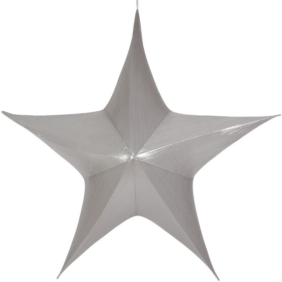 "60"" Silver Unlit Hanging Star, Fold Flat Frame with Metallic Lame"