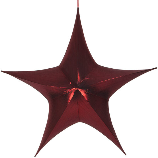"54"" Red Unlit Hanging Star, Fold Flat Frame with Metallic Lame"