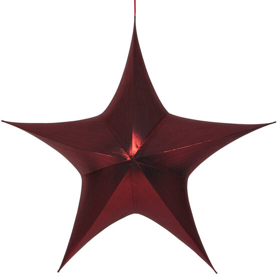 "60"" Red Unlit Hanging Star, Fold Flat Frame with Metallic Lame"