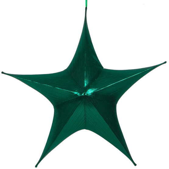 "26"" Green Unlit Hanging Star, Fold Flat Frame with Metallic Lame"