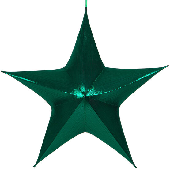 "32"" Green Unlit Hanging Star, Fold Flat Frame with Metallic Lame"