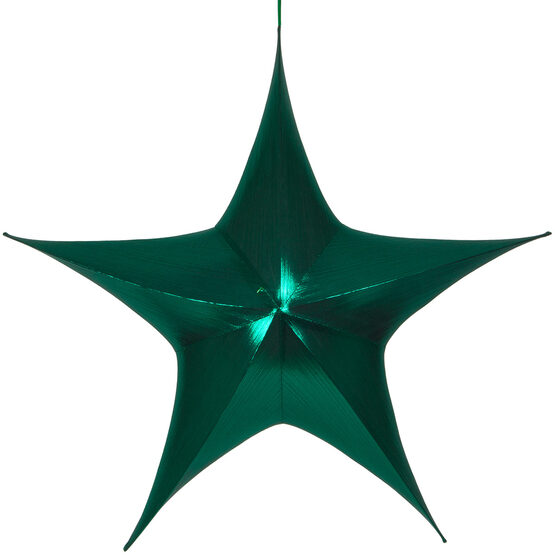 "54"" Green Unlit Hanging Star, Fold Flat Frame with Metallic Lame"