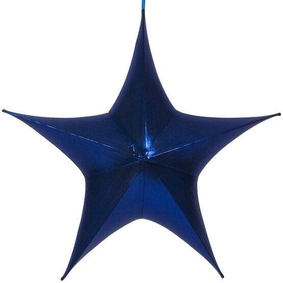 "32"" Blue Unlit Hanging Star, Fold Flat Frame with Metallic Lame"
