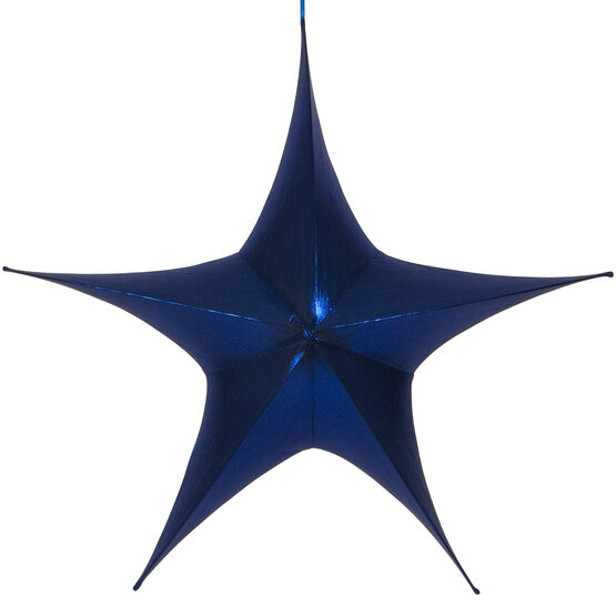 "44"" Blue Unlit Hanging Star, Fold Flat Frame with Metallic Lame"