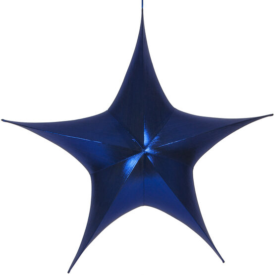 "54"" Blue Unlit Hanging Star, Fold Flat Frame with Metallic Lame"