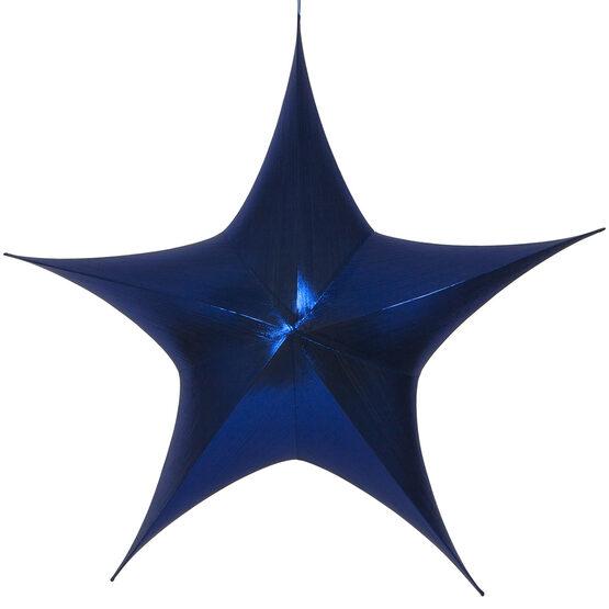 "60"" Blue Unlit Hanging Star, Fold Flat Frame with Metallic Lame"