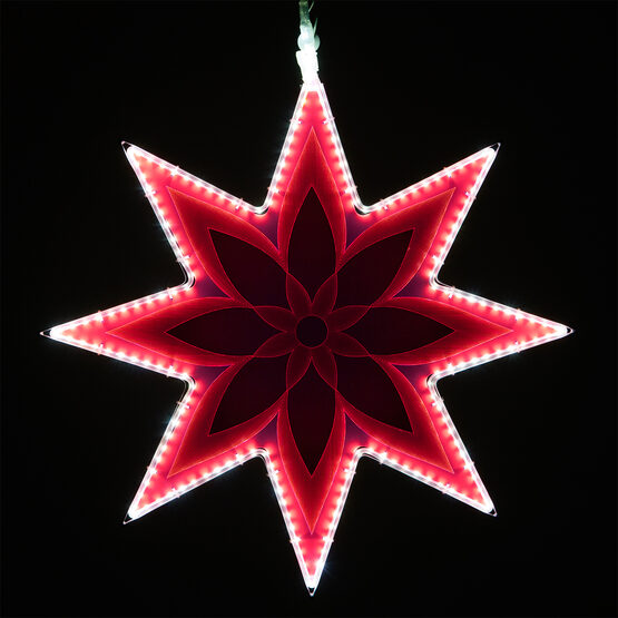 Electric Pink 8 Point Star Light with Flower Laser Etching