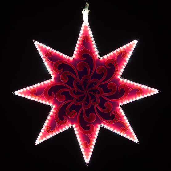 Electric Pink 8 Point Star Light with Swirl Filigree Laser Etching