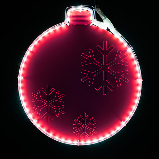 Electric Pink Lit Ornament with Snowflake Laser Etching