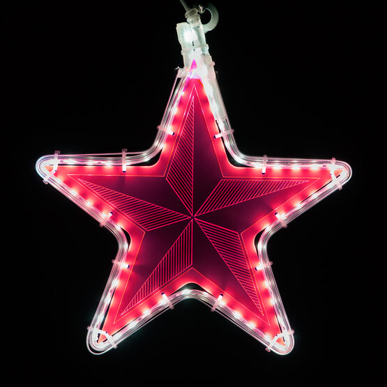 Electric Pink Star Light with Pinwheel Laser Etching