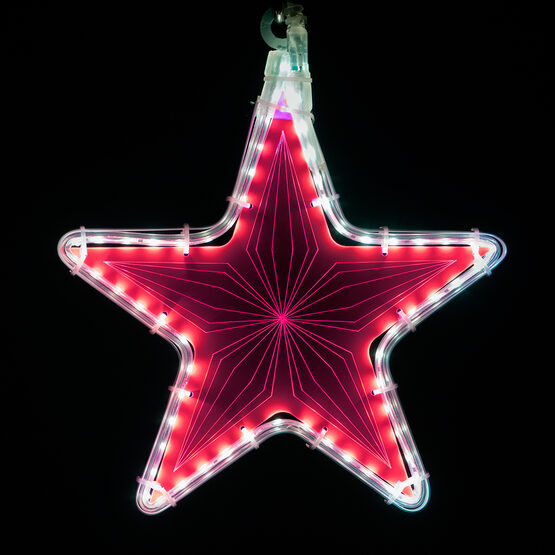 """10"""" Electric Pink Star Light with Geometric Laser Etching"""