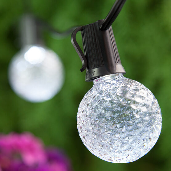 25' Globe String Light Set, 25 Cool White G50 OptiCore LED Bulbs