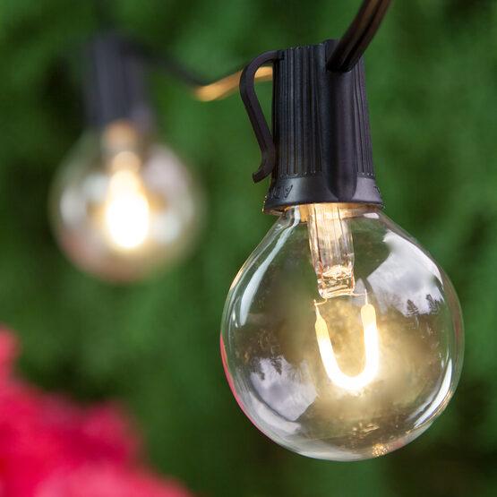 Globe String Light Set, Warm White G50 FlexFilament TM Glass LED Bulbs, Black Wire