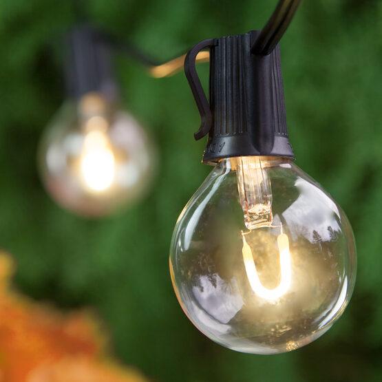 Globe String Light Set, Warm White G50 FlexFilament TM Acrylic LED Bulbs, Black Wire