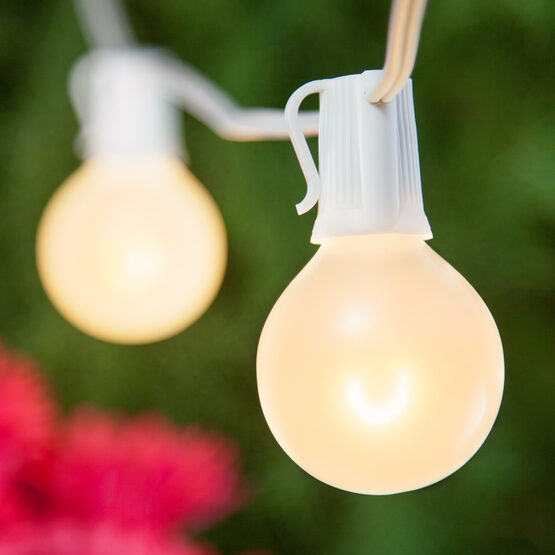 Globe String Light Set, Warm White G50 FlexFilament TM Satin Glass LED Bulbs, White Wire