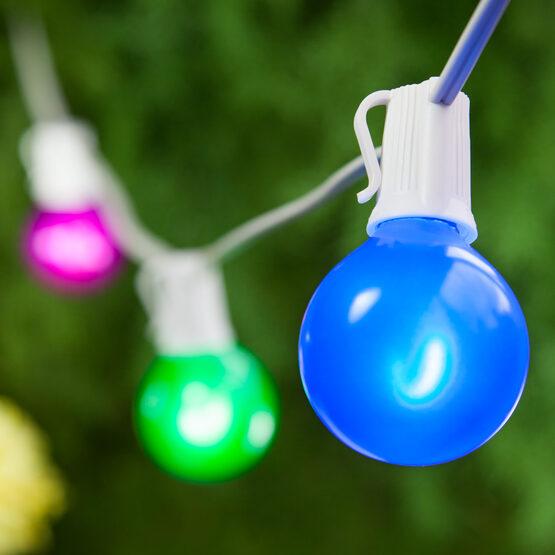 Globe String Light Set, Multicolor G50 FlexFilament TM Satin Glass LED Bulbs, White Wire