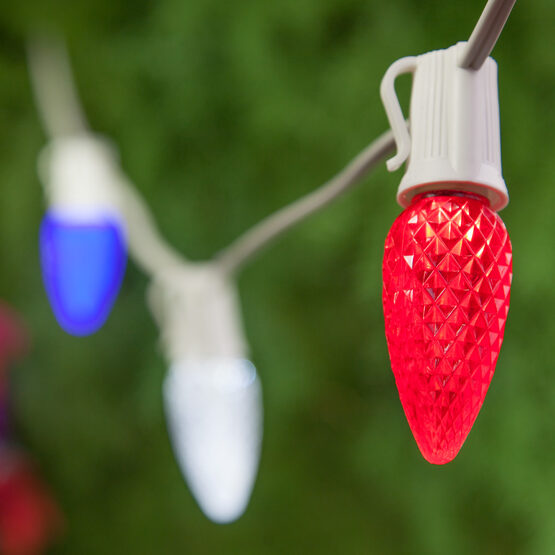Outdoor Patio String Light Set, Red, White and Blue C9 OptiCore TM LED Bulbs, White Wire