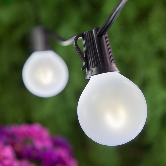 Globe String Light Set, Cool White G50 FlexFilament TM Satin Glass LED Bulbs, Black Wire