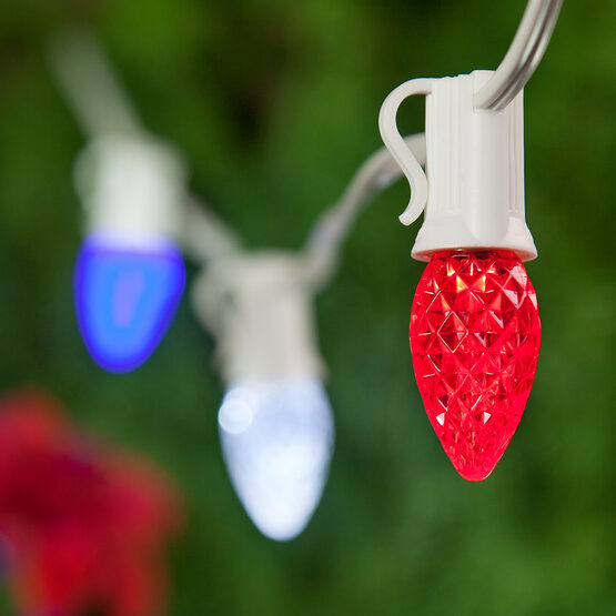 Outdoor Patio String Light Set, Red, White and Blue C7 OptiCore TM LED Bulbs, White Wire
