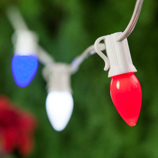 Outdoor Patio String Light Set, Red, White and Blue C7 OptiCore TM Opaque LED Bulbs, White Wire