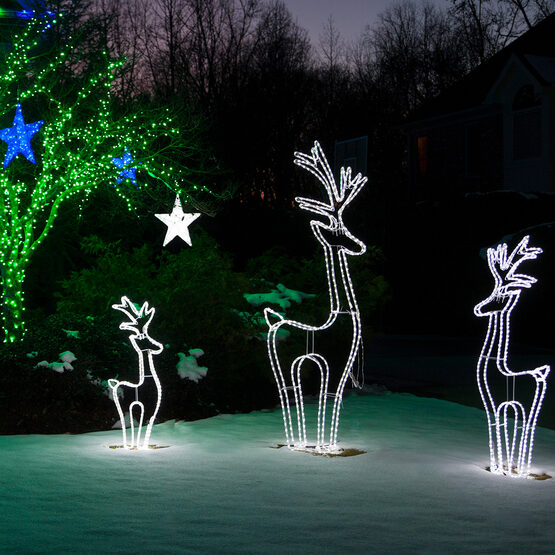3D LED Standing Reindeer, Cool White Lights