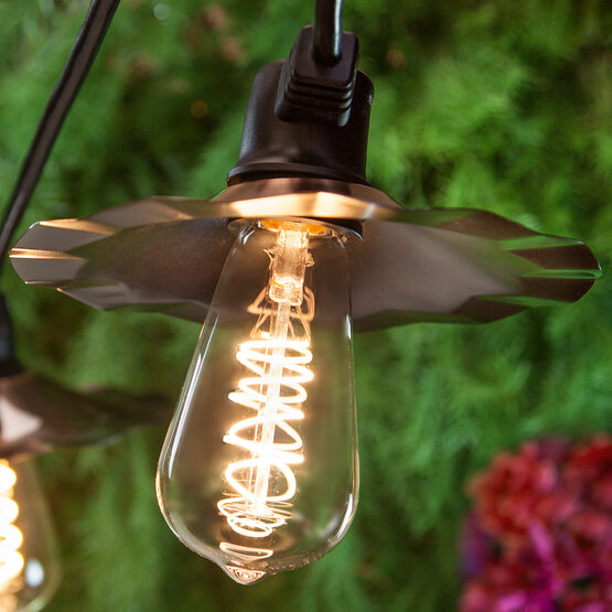 Cafe String Light Set, Warm White ST64 FlexFilament TM 3W Glass LED Edison Bulbs, Black Wire, Copper Shades