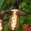 35' Cafe String Light Set, 7 Warm White ST64 FlexFilament TM 5W Antiqued Glass LED Edison Bulbs, Black Wire, Copper Shades