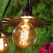 Cafe String Light Set, Warm White G95 FlexFilament TM Antiqued Glass LED Edison Bulbs, Black Wire, Copper Shades