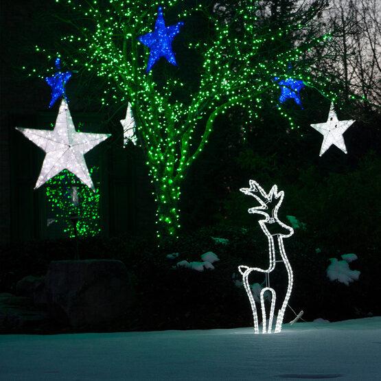 """20"""" White LED Hanging Star Light, Metallic Mesh Covered Frame"""