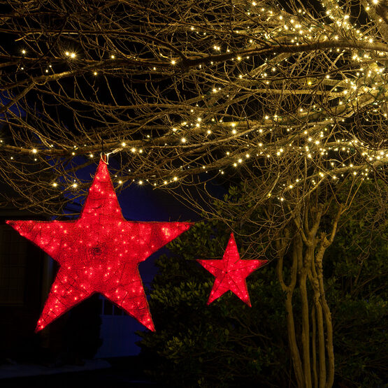 """20"""" Red LED Hanging Star Light, Metallic Mesh Covered Frame"""