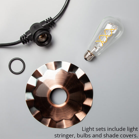 Cafe String Light Set, Warm White ST64 FlexFilament TM 5W Glass LED Edison Bulbs, Black Wire, Copper Shades