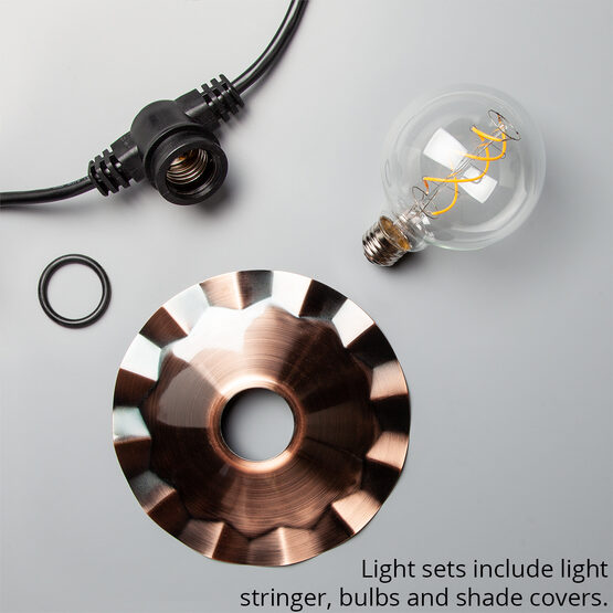Cafe String Light Set, Warm White G95 FlexFilament TM Glass LED Edison Bulbs, Black Wire, Copper Shades