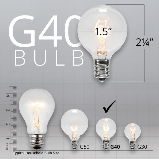 Globe String Lights, Clear G40 Bulbs, White Wire