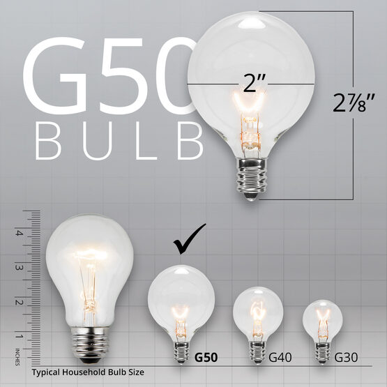 Globe String Lights, Clear G50 Bulbs, White Wire