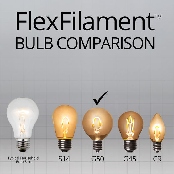 Globe String Light Set, Warm White G50 FlexFilament TM Satin Glass LED Bulbs, Black Wire
