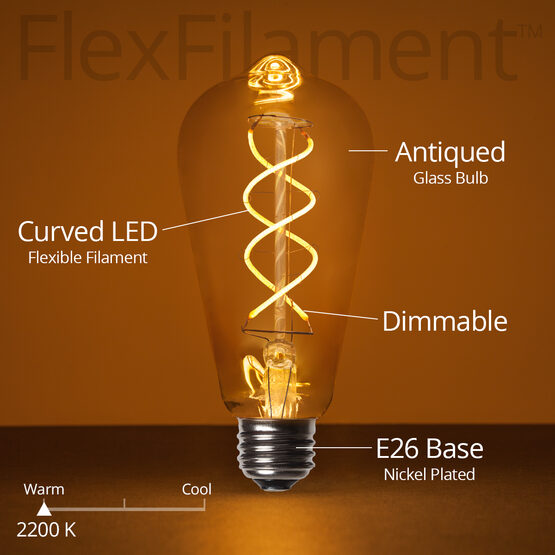 Cafe String Light Set, Warm White ST64 FlexFilament TM 5W Antiqued Glass LED Edison Bulbs, Black Wire, Copper Shades