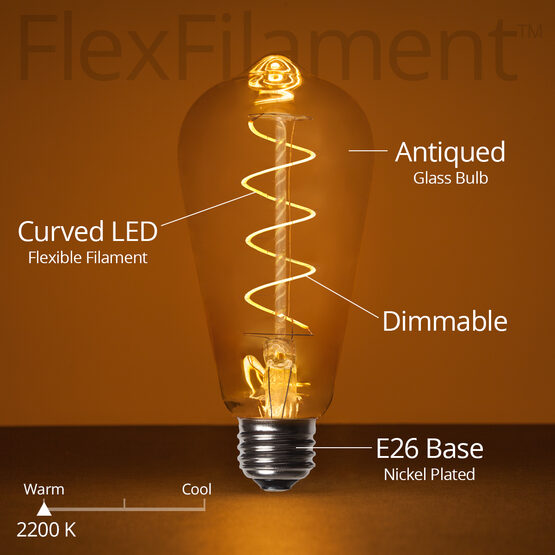 Cafe String Light Set, Warm White ST64 FlexFilament TM 3W Antiqued Glass LED Edison Bulbs, Black Wire, Copper Shades
