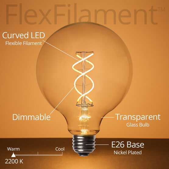 Cafe String Light Set, Warm White G125 FlexFilament TM Glass LED Edison Bulbs, Black Wire, Copper Shades