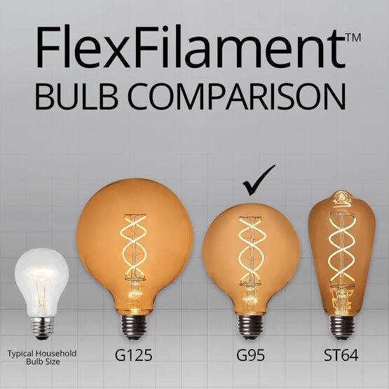 35' Cafe String Light Set, 7 Warm White G95 FlexFilament TM Glass LED Edison Bulbs, Black Wire, Copper Shades