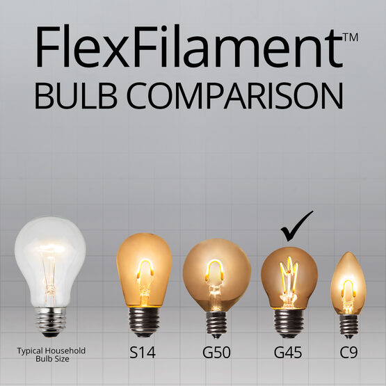 G45 Globe Light FlexFilament TM LED Edison Light Bulb, Warm White Transparent Glass