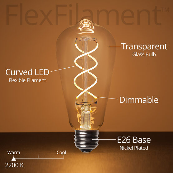 ST64 5W LED Edison Light Bulb, Warm White Glass