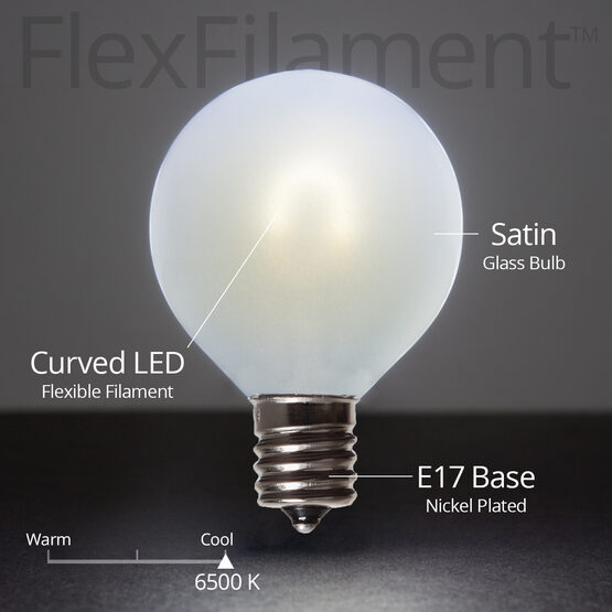 G50 FlexFilament TM Vintage LED Light Bulb, Cool White Satin Glass