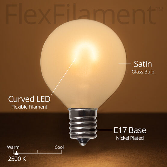 G50 FlexFilament TM Vintage LED Light Bulb, Warm White Satin Glass, E17 Base