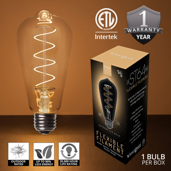 ST64 FlexFilament TM LED Edison Light Bulb, Warm White Glass