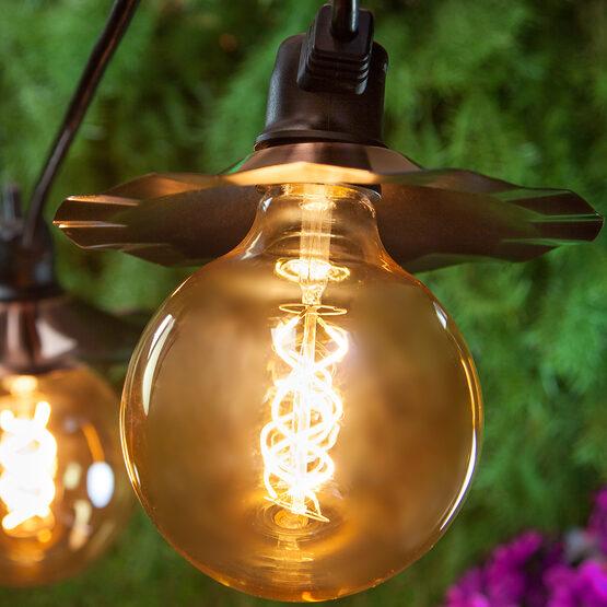 G125 Globe Light LED Edison Light Bulb, Warm White Antiqued Glass