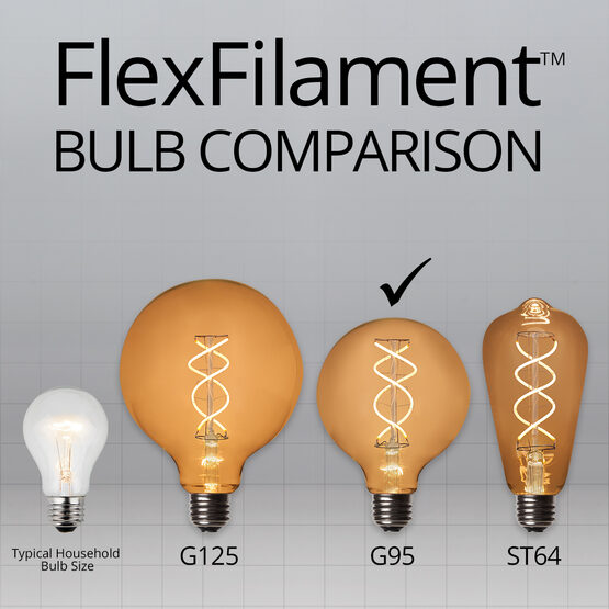 G95 Globe Light LED Edison Light Bulb, Warm White Transparent Glass