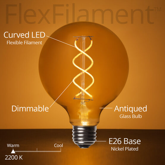 G95 Globe Light FlexFilament TM LED Edison Light Bulb, Warm White Antiqued Glass