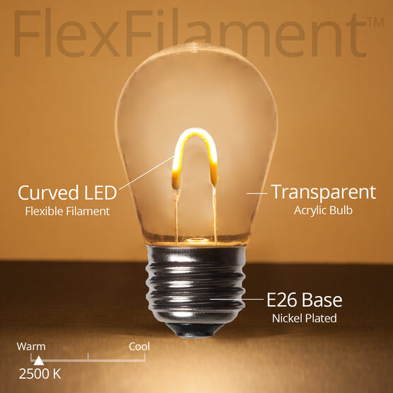 S14 FlexFilament TM Vintage LED Light Bulb, Warm White Transparent Acrylic