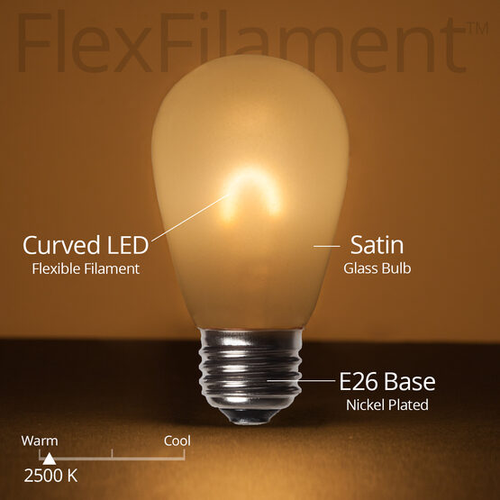S14 FlexFilament TM Vintage LED Light Bulb, Warm White Satin Glass